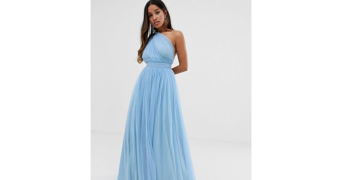 09dca4c53d89 ASOS Asos Design Petite Tulle One Shoulder Maxi Dress in Blue - Lyst