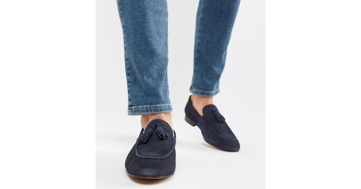 4d2cd63d069 H by Hudson Wide Fit Bolton Tassel Loafers In Navy Suede in Blue for Men -  Lyst