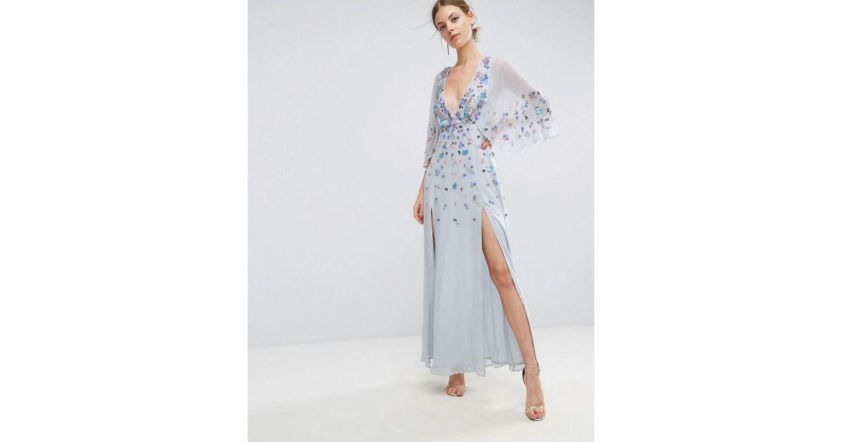 5c75cf29525 Lyst - ASOS Embellished Kimono Maxi Dress in Blue