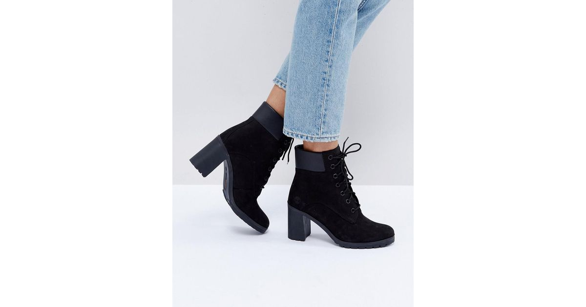 278a21fe6c6e2 Timberland Allington Black Nubuck Heeled Ankle Boots in Black - Lyst