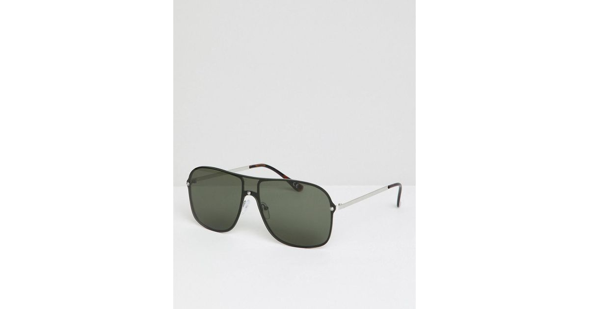 b0f45915b2 Lyst - ASOS Aviator Sunglasses In Silver Metal With Black Visor Laid On  Lens in Metallic for Men