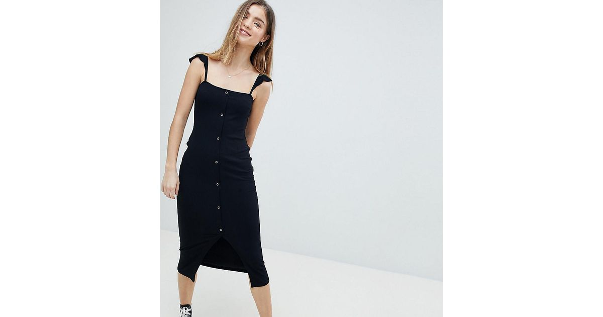 6d8d4d943691 ASOS Midi Tank Dress With Frill Straps And Popper Placket in Black - Lyst