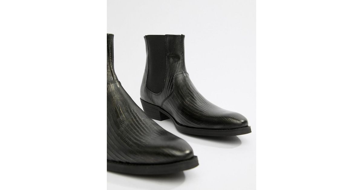 3c15a08a687a Lyst - ASOS Cuban Heel Western Boots In Black Leather With Snake Texture in  Black for Men