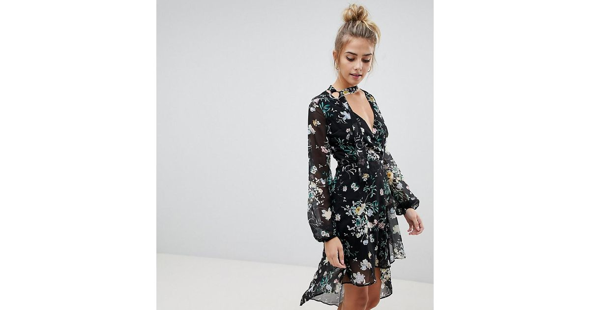 2322b912859d Bershka Floral Asymmetric Floaty Dress in Black - Lyst