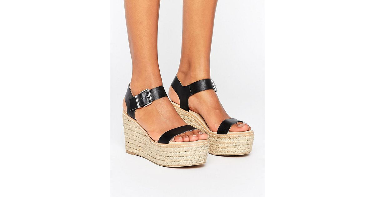 66c143b2027a Steve Madden Halifax Espadrille Wedge Sandals in Black - Lyst