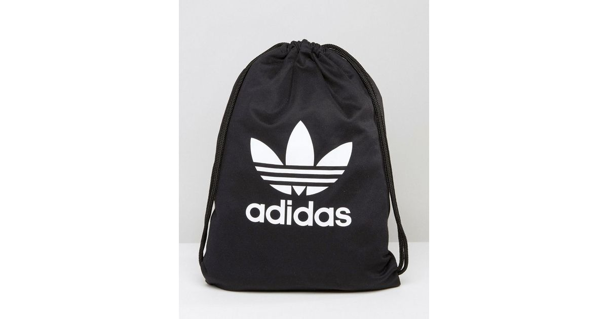 eec0dca6d389 Lyst - adidas Originals Originals Drawstring Backpack With Trefoil Logo in  Black