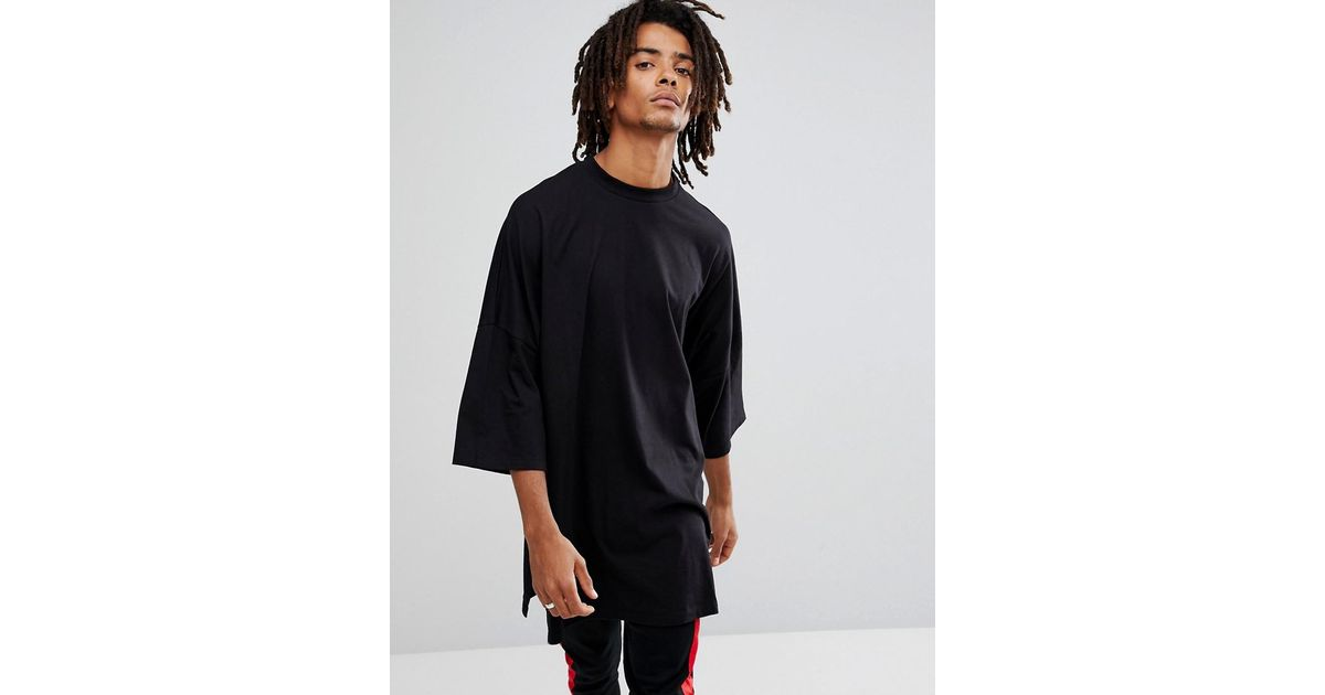 62a14cd48e34 ASOS Extreme Oversized Super Longline T-shirt With Side Splits In Black in  Black for Men - Lyst