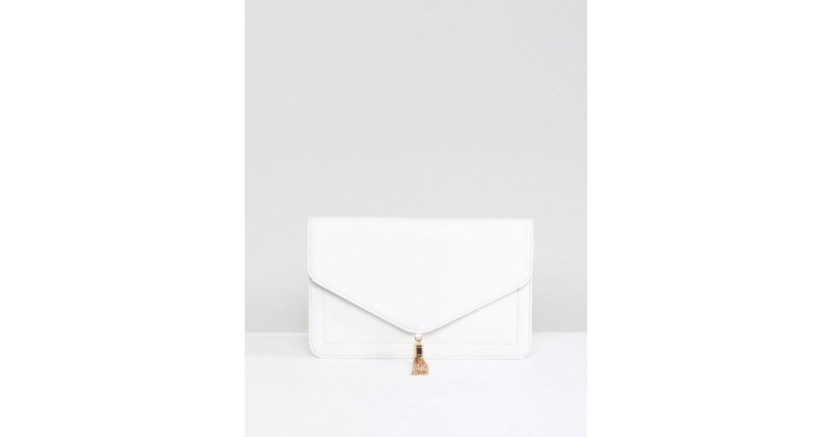 Tassel Clutch Bag In Water Based PU - White Asos X3V1LlKHF