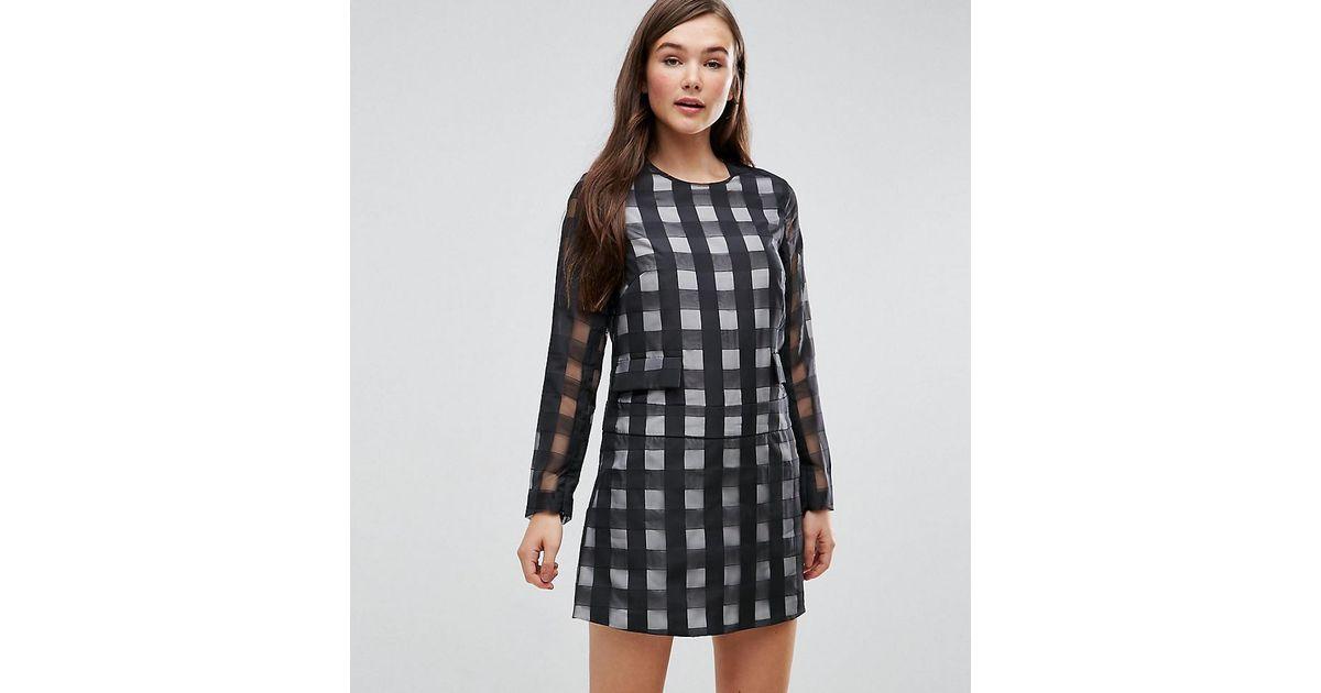 964554f1f9 ASOS Le Kilt For Asos Long Sleeve Romper With Skirt Overlay in Black - Lyst