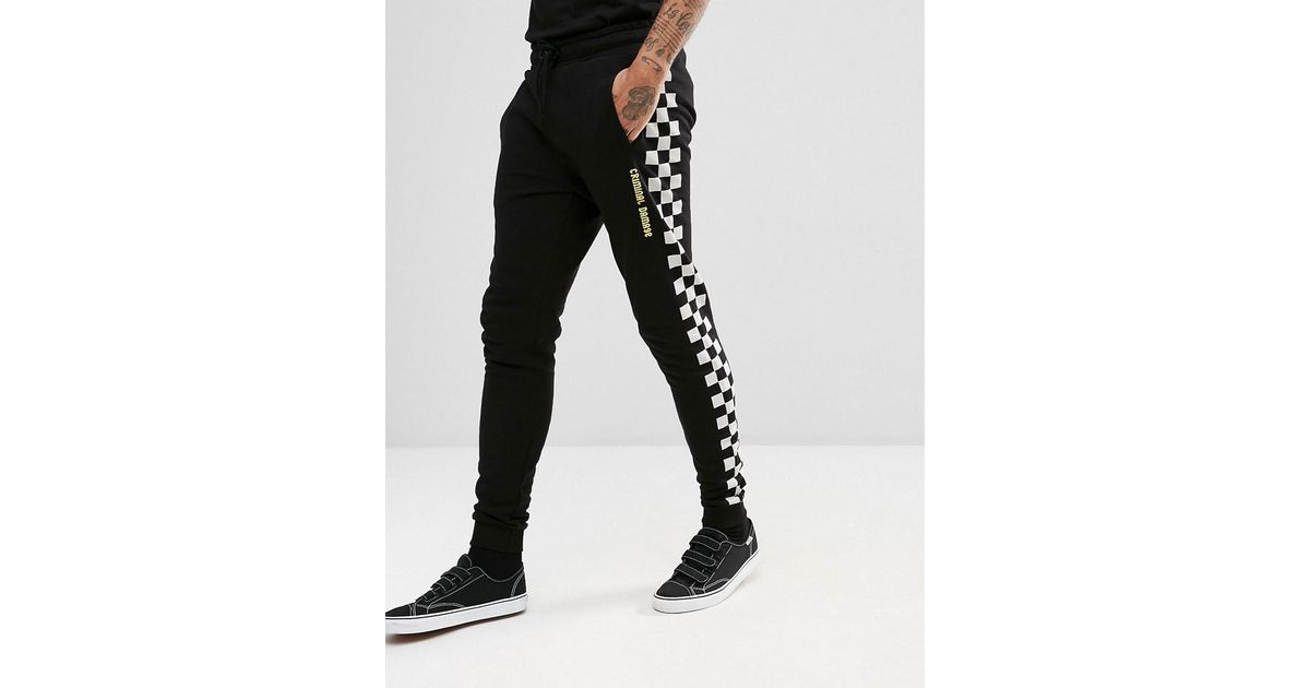 e1cdccf0e5 Criminal Damage Skinny Joggers In Black With Checkerboard Stripe in Black  for Men - Lyst
