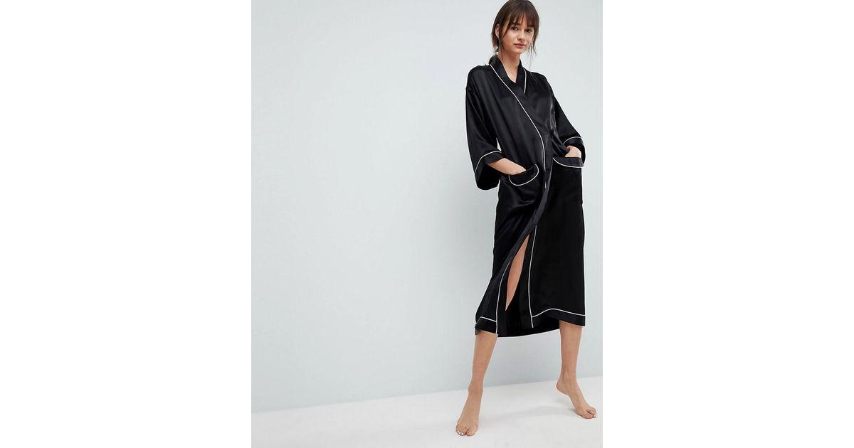 Asos 100% Silk Robe in Black - Lyst