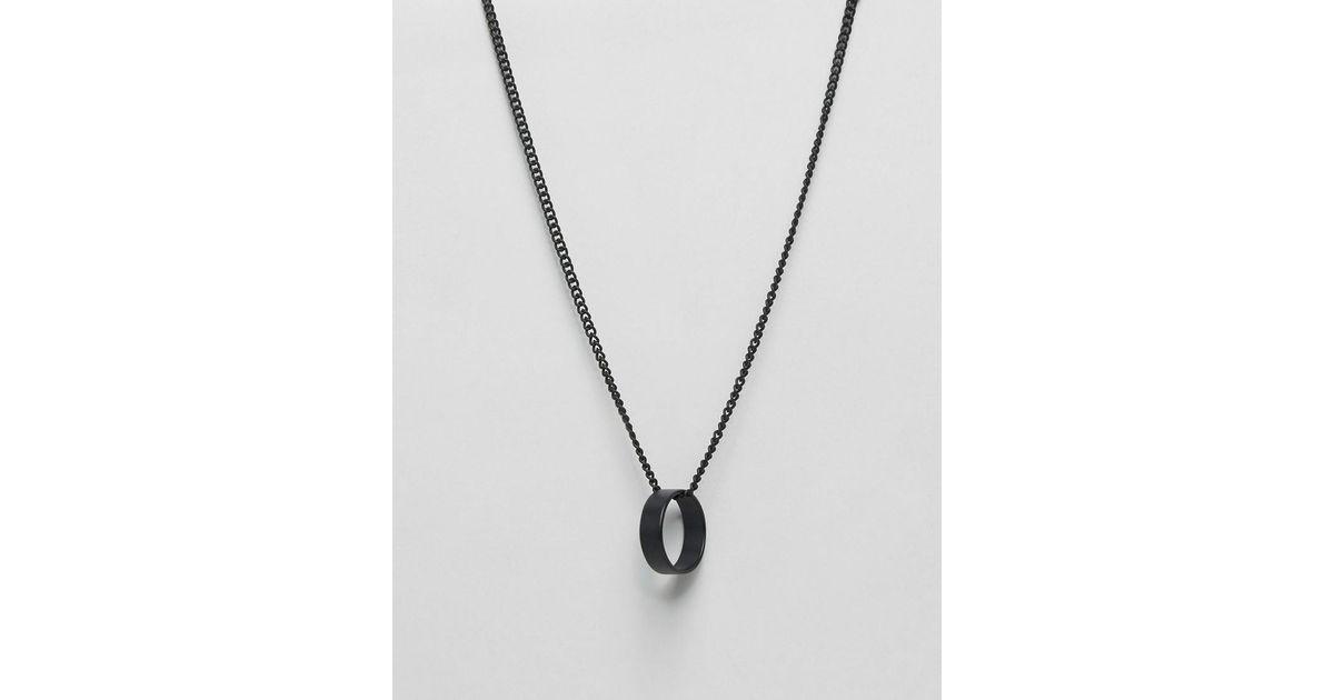 Lyst asos circle pendant necklace in black in black for men aloadofball Choice Image