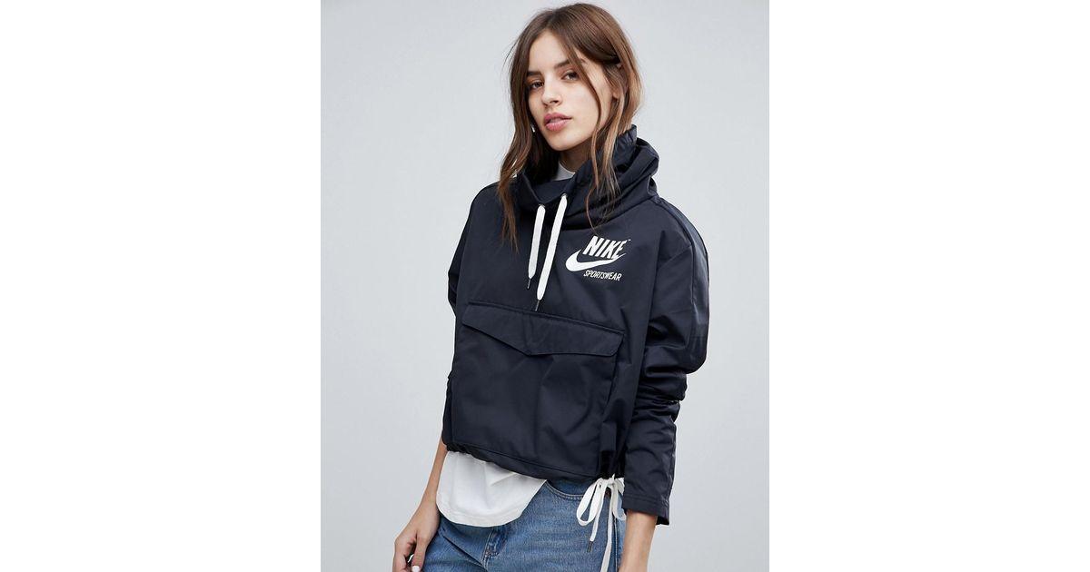 d03685741339 Nike Archive Pullover Jacket In Black in Black - Lyst