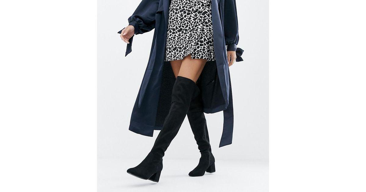 d79f06b4962 Lyst - Boohoo Exclusive Block Heel Over The Knee Boots In Black in Black