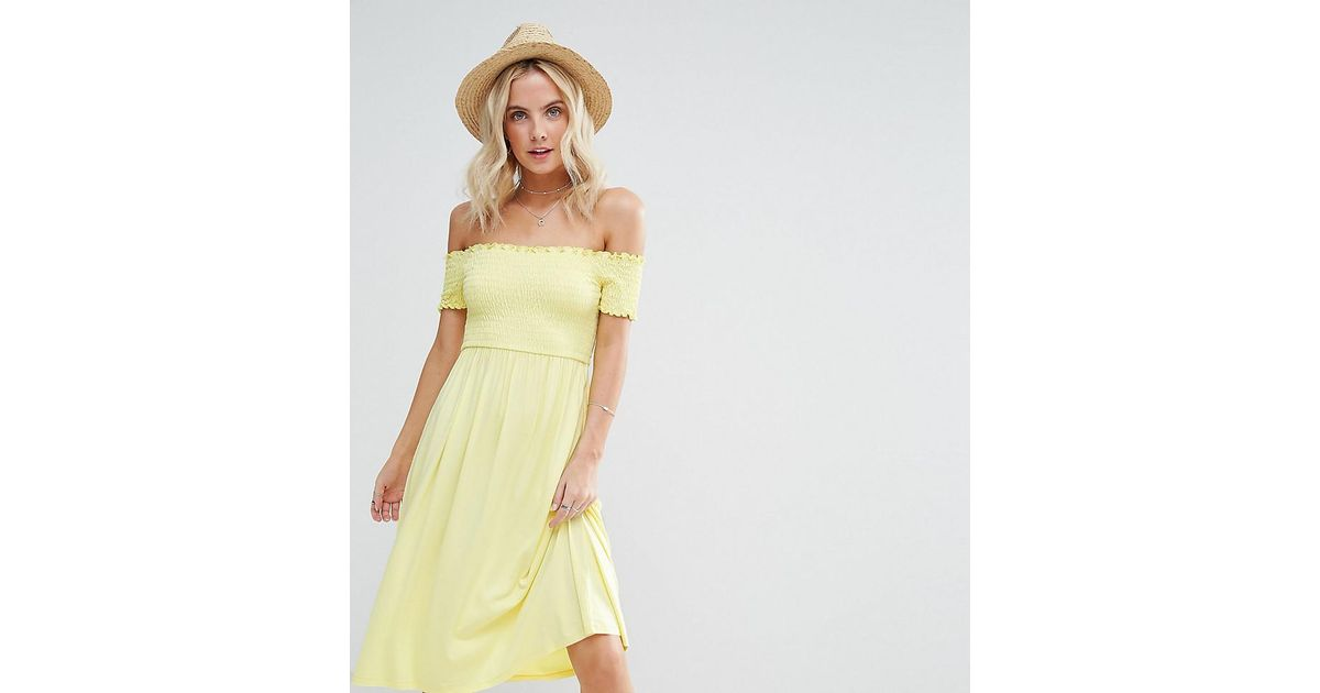 47b60594380d Lyst - ASOS Midi Off Shoulder Sundress With Shirring in Yellow