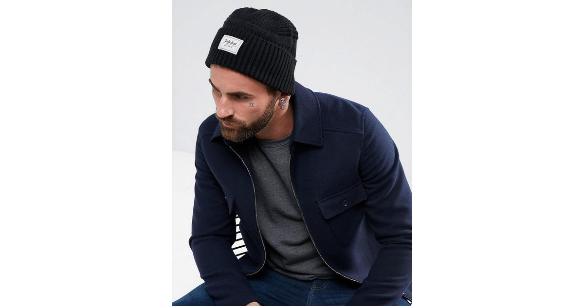Lyst - Timberland Gulf Beach Ribbed Beanie Label Logo In Black in Black for  Men d65a1552606