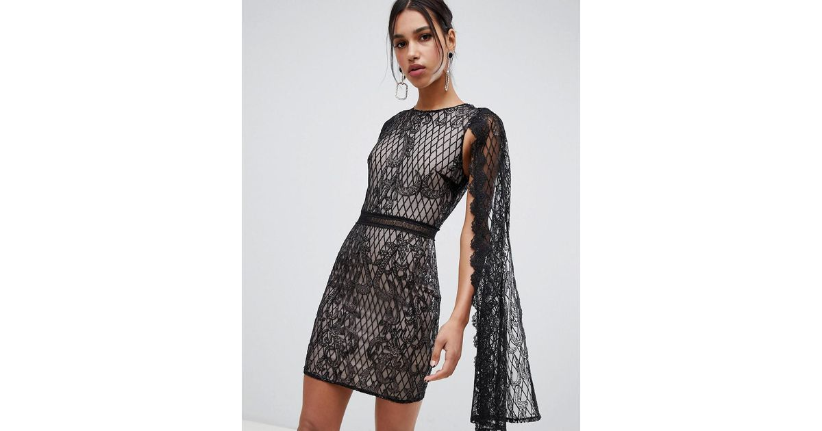 c4386ab57f7a True Decadence Sequin Lace Cape Detail Pencil Dress In Black in Black - Lyst