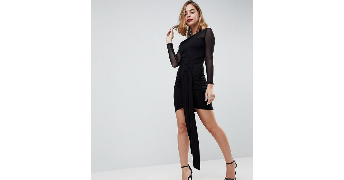Lyst Asos Drape Front Mini Bodycon With Mesh Dress In Black
