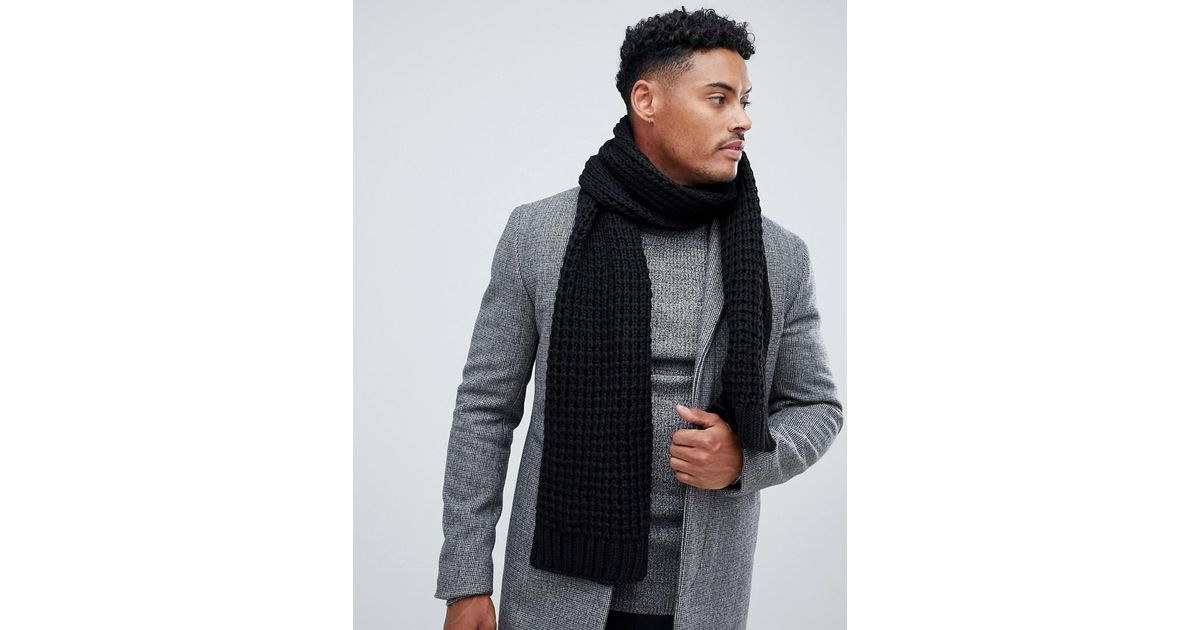 5d6b1918a Lyst - ASOS Knitted Scarf In Black Recycled Polyester in Black for Men