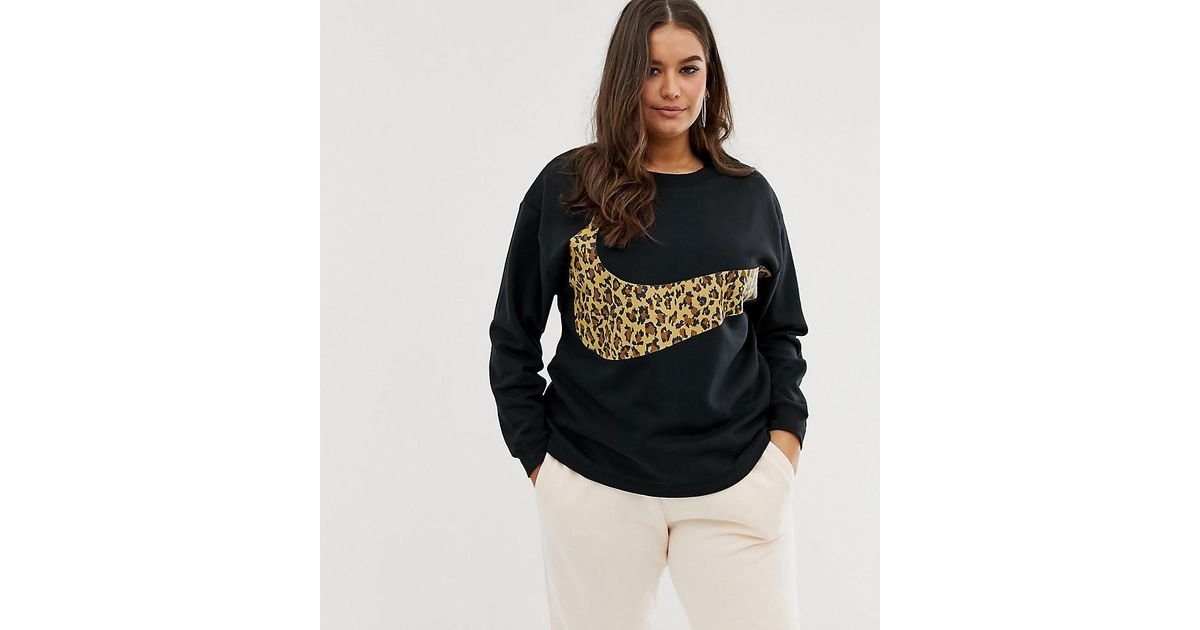 1b32daf4 Nike Plus Black Leopard Swoosh Long Sleeve T-shirt in Black - Lyst