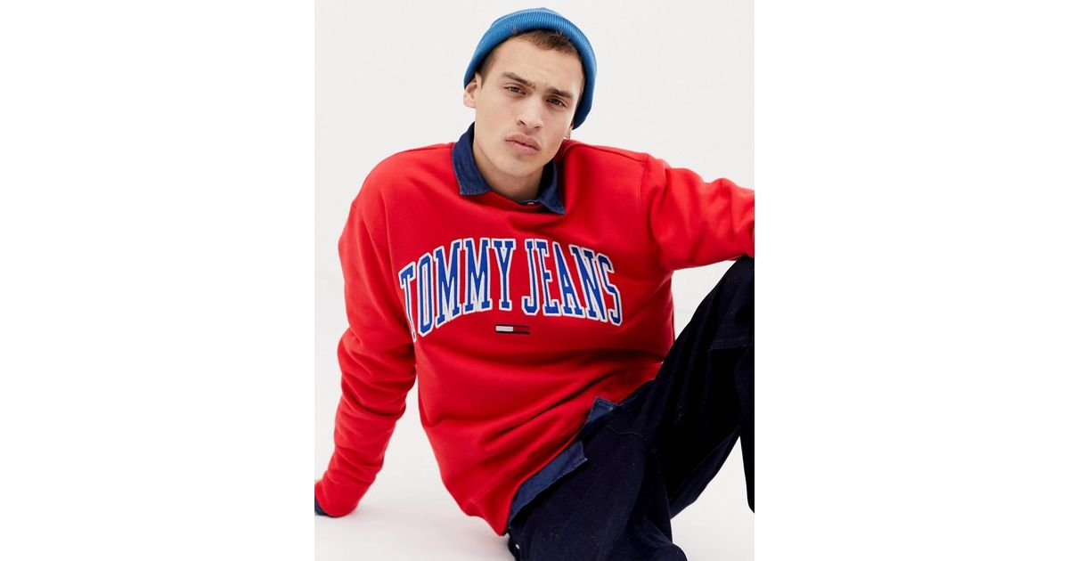 7dbeaf0a Tommy Hilfiger Relaxed Fit Collegiate Capsule Sweatshirt In Red in Red for  Men - Lyst
