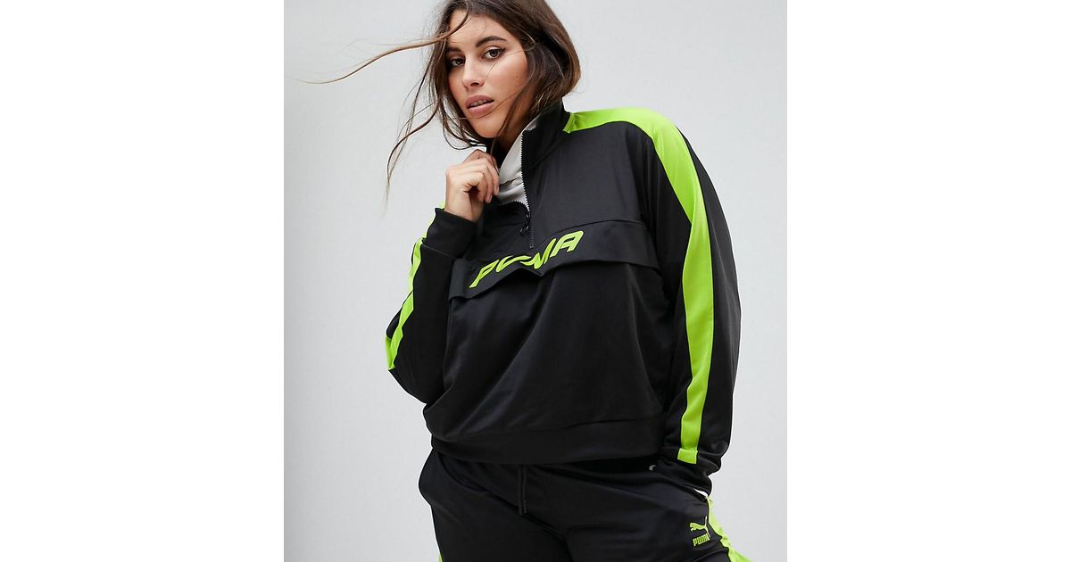 047d82306e40 PUMA Exclusive To Asos Plus Track Jacket In Black And Neon Green in Black -  Lyst