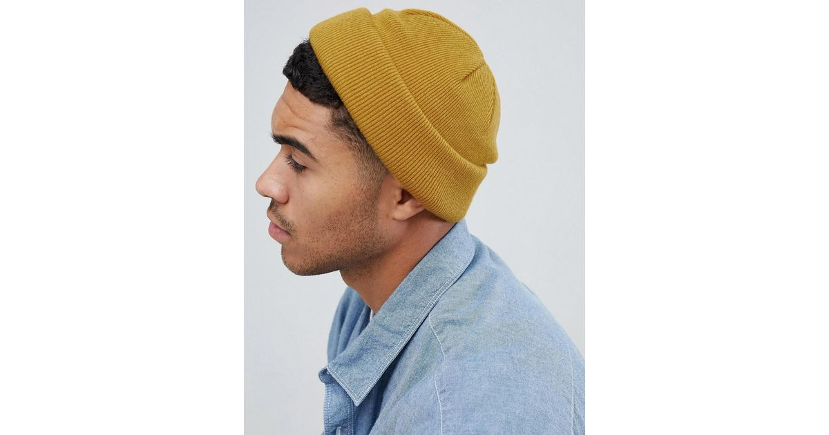 ASOS Mini Fisherman Beanie In Mustard in Yellow for Men - Lyst 5c8155c01a9