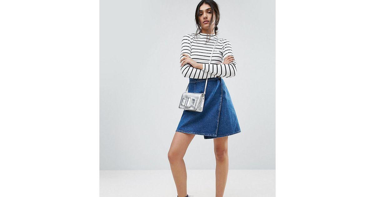 6f1bcd5800 Lyst - ASOS Denim Wrap Skirt In Mid Wash Blue in Blue