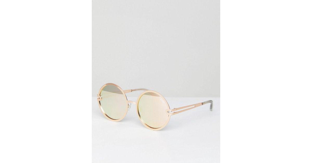cbdb79b46e17e Quay Ukiyo Round Lens Sunglasses in Metallic - Lyst