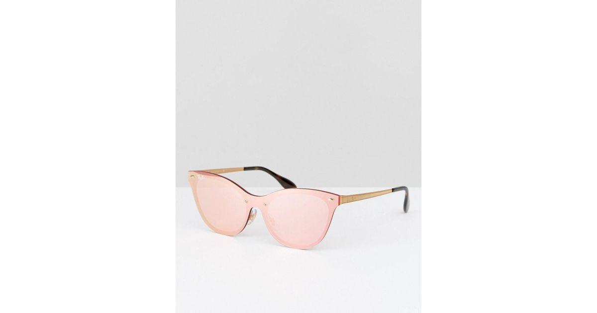 Lyst - Lunettes de soleil yeux de chat verres plats flashy Ray-Ban pour  homme en coloris Rose da1e50240565