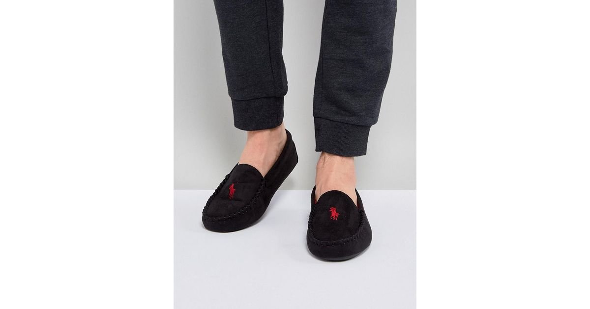0f3888a1f Ralph Lauren Dezi Moccasin Slippers in Black for Men - Lyst
