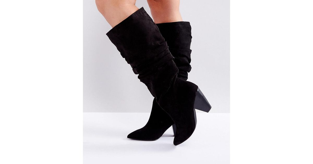 73a465c78f40 Lyst - ASOS Asos Cadet Wide Fit Slouch Knee Boots in Black