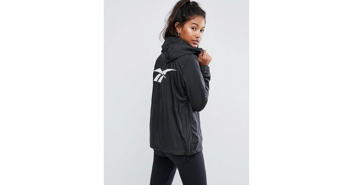 ccd9ef99 Reebok - Classics Black Windbreaker Jacket With Back Print - Lyst