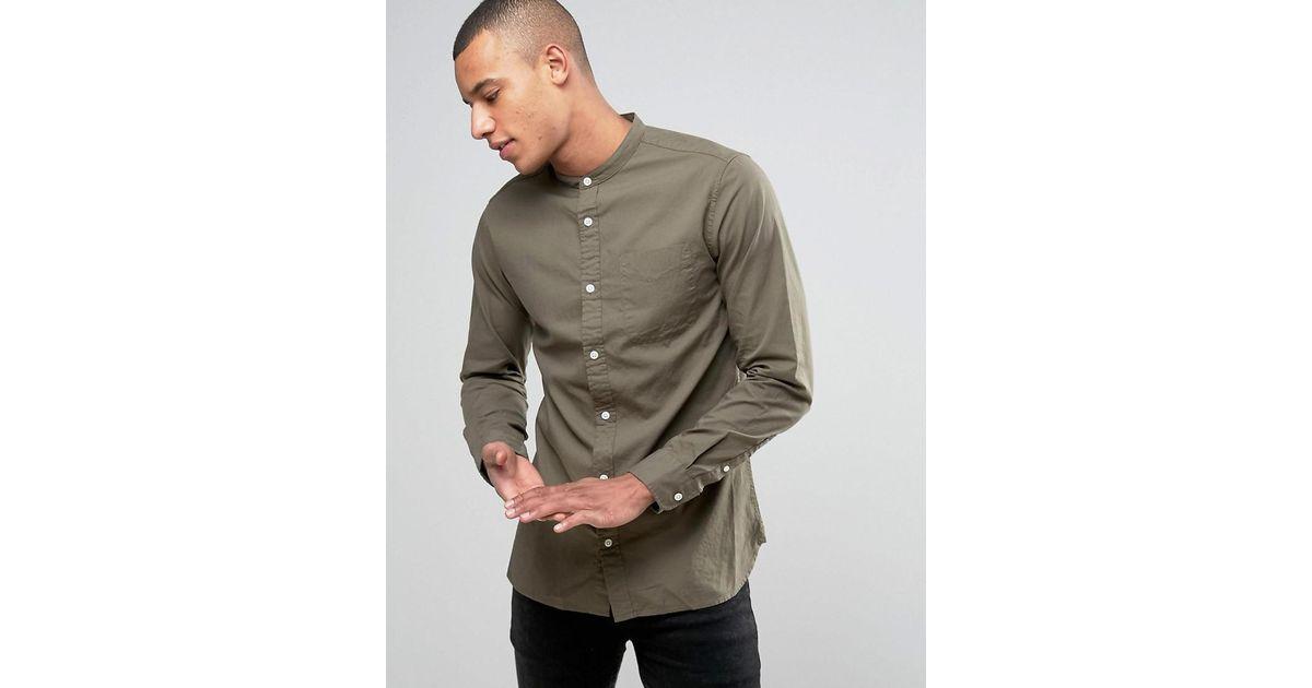 bfd642f0cd1d0d Lyst - Jack   Jones Premium Slim Oxford Grandad Shirt in Green for Men