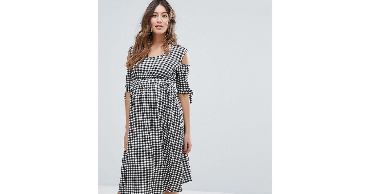 e6737d9096ab7 Lyst - Bluebelle Maternity Gingham Skater Dress With Cold Shoulder in Black
