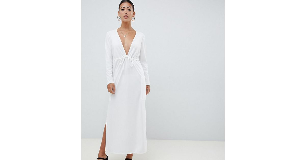 004930897 ASOS Asos Design Petite Crepe Maxi Dress With Drawstring Waist in White -  Lyst