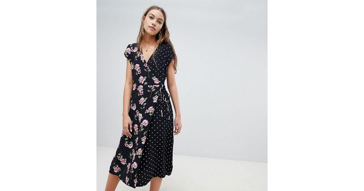 f3dafd7ca393d New Look Mix And Match Print Midi Dress in Black - Lyst