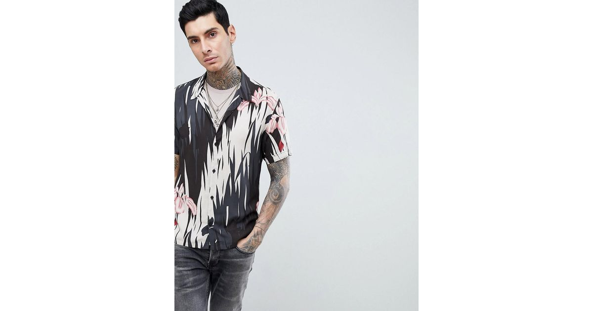 6a39a12f871 Lyst - AllSaints Short Sleeve Revere Shirt With Hawaiian Print in Black for  Men