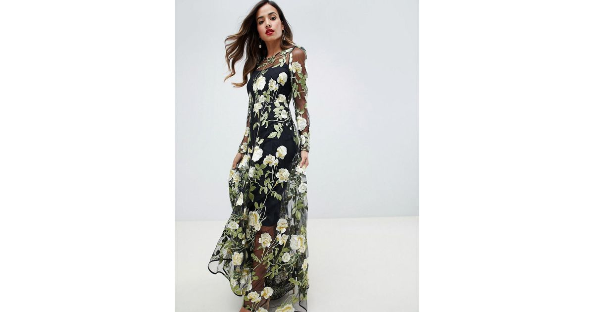 22e910486587 ASOS Floral Embroidered Maxi Dress With Cutabout Skirt - Lyst