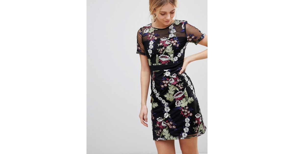 17024b5d9 Lyst - Girls On Film Floral Embroidered Mini Dress in Black