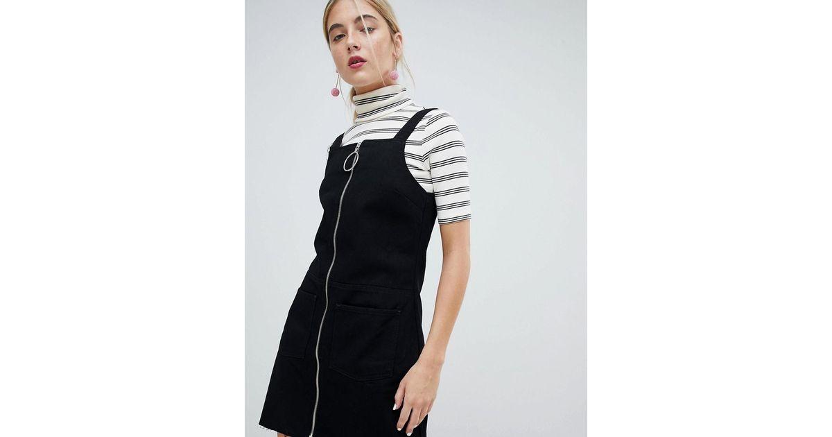 Chorus Circle Puller Zip Up Denim Pinafore Dress in Black - Lyst 05b88d36d