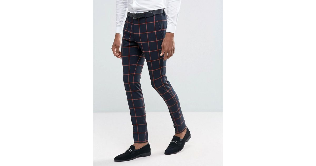 efd7b268aea5b Lyst - ASOS Super Skinny Suit Pants In Navy With Orange Windowpane Check in  Blue for Men