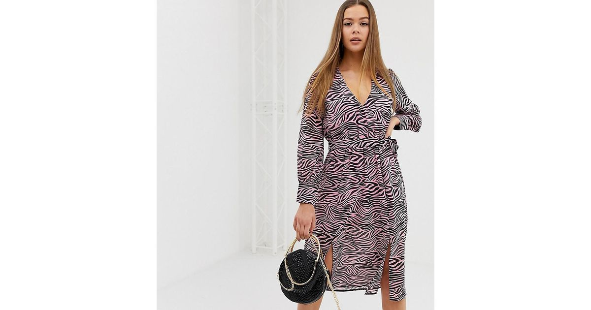 1b9668d53 Lyst - Boohoo Tie Waist Wrap Midi Dress With Split Detail In Pink Zebra in  Pink