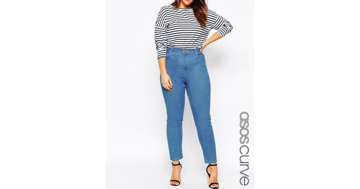 b5bd5aaf2eb Lyst - ASOS Farleigh High Waist Slim Mom Jeans In Junior 70 s Blue Wash in  Blue