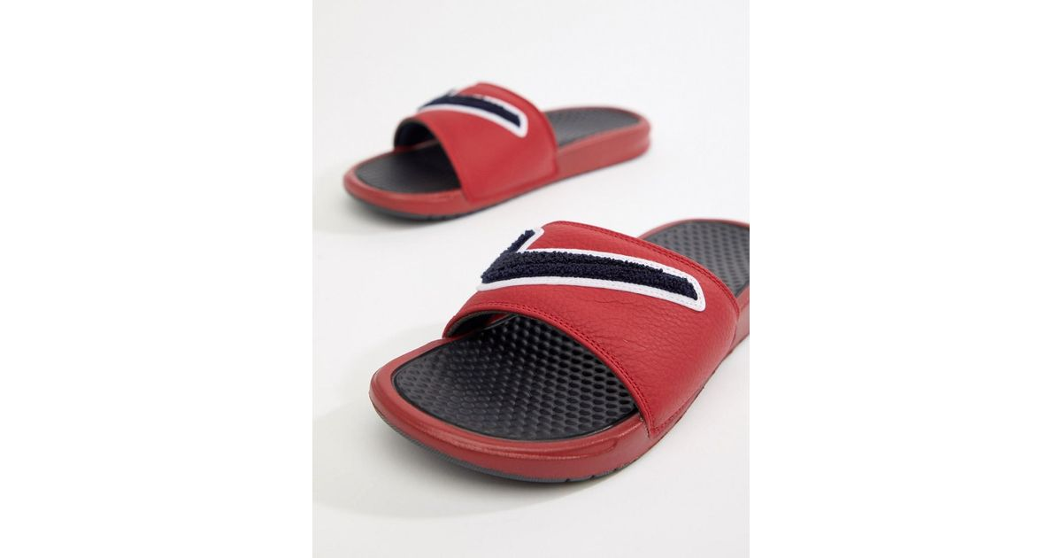 e9d51a1a6 Nike Benassi Jdi Chenille Sliders In Red Ao2805-600 in Red for Men - Lyst