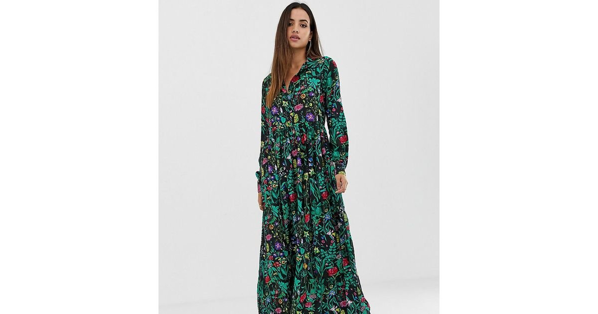 192b7158d PrettyLittleThing Button Down Maxi Shirt Dress In Black Floral in Green -  Lyst