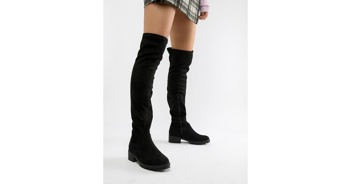 78656da08f0 Lyst - Truffle Collection Stretch Over Knee Boots in Black