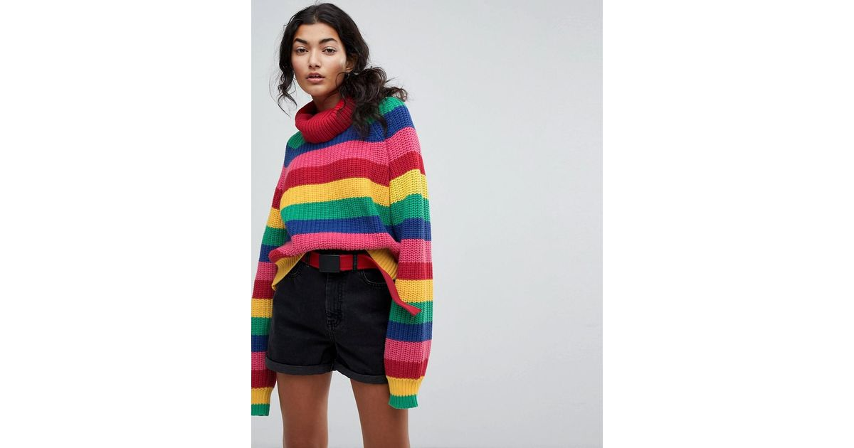8f20a3799648 Lyst - Lazy Oaf Roll Neck Knitted Jumper In Rainbow Stripe
