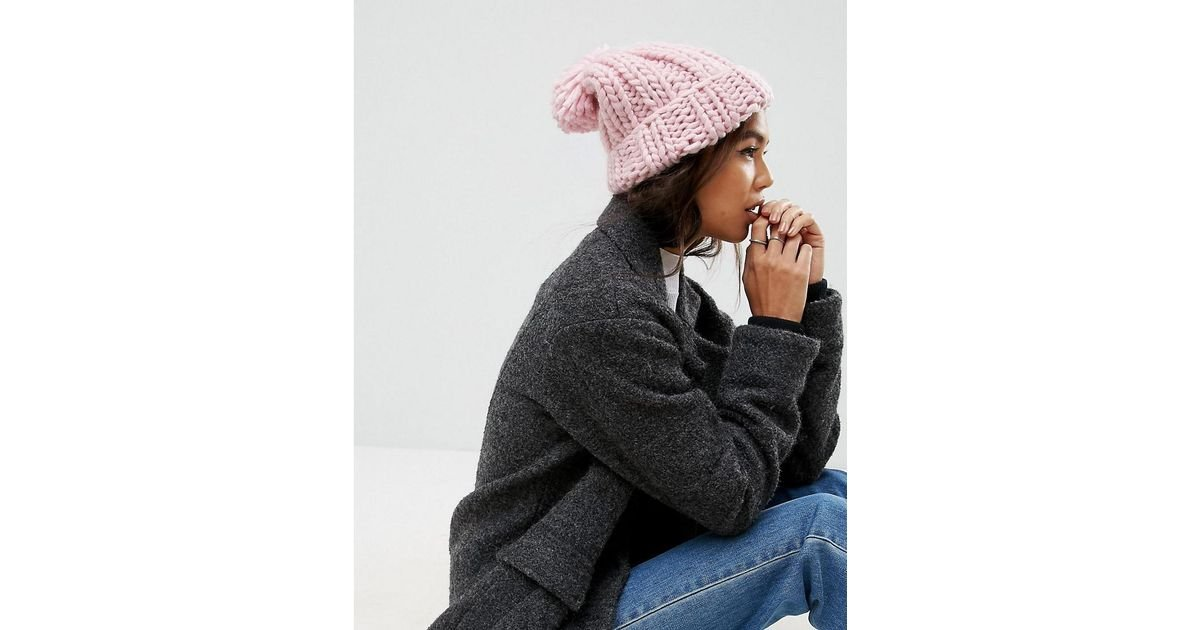 Extra Chunky Beanie with Self Knitted Pom - Pink Asos DL3JbP