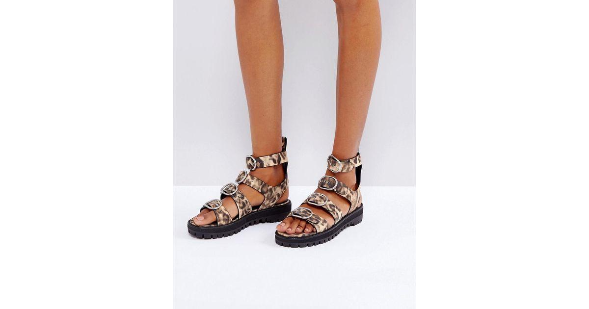 05ec559bda87 Lyst - AllSaints Gladiator Sandal In Leopard Print in Brown